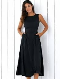 midi dress sleeveless neck fitting midi dress black casual