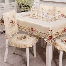 table runner placemat set beige polyester hollow embroidered dining table cloths table runner