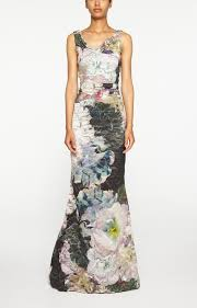nicole miller floral print crepe gown lyst