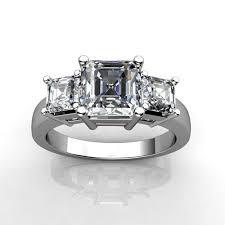 sterling silver asscher cut diamond three stone wedding engagement