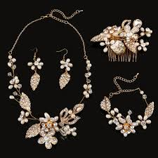necklace accessories wholesale images 4 pieces bridal jewelry sets hair combs necklaces earrings jpg