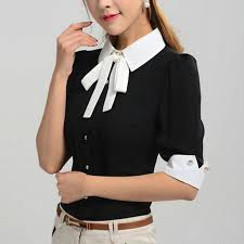 black blouse with white collar work wear office 2016 shirt tops black pink blue
