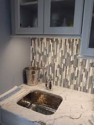 Inspiring Kitchens Glass And Stone Linear Mosaic Used For A Bar - Bar backsplash