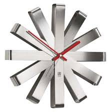 stainless steel home decor modern and stylish umbra ribbon stainless steel wall clock modern