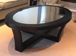 Coffee Tables Black Glass Oval Glass Top Coffee Table With Storage And Wooden Base With