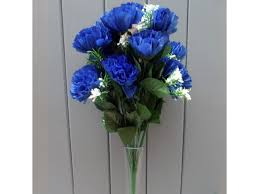 blue carnations artificial 45cm royal blue carnations 18 heads permabloom