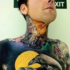 colorful neck tattoo throat tattoos pinterest tattoo throat
