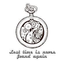 hand drawn vintage watch clock sketch vector illustration stock
