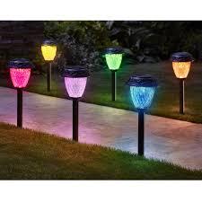 the customizable color solar garden lights hammacher schlemmer