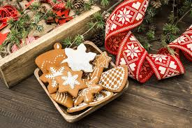 ornaments and gingerbread cookies home decoration stock