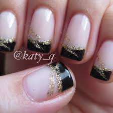 black french tip nails with designs black tip nail art nails