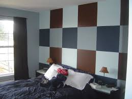 color designs for bedrooms with retro astistic wall plaid painting