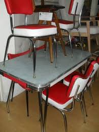 Retro Red Kitchen Chairs - red and white table setting 1950s 60 dining settings red