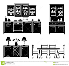 set of icons of kitchen furniture stock images image 28650904