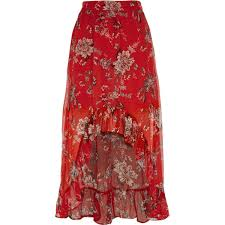red floral high low maxi skirt skirts sale women