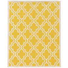 linon home decor silhouette quatrefoil yellow and white 5 ft x 7