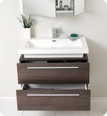 fresca medio gray oak modern bathroom vanity and medicine cabinet