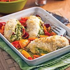 cuisiner les poivrons poitrines de poulet pesto prosciutto et mini poivrons recettes