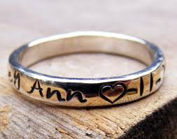 engraved name rings images Personalized name ring stackable handstamped mother 39 s ring jpg