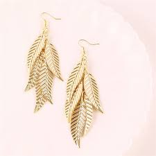 gold earrings design with weight 2017 24k korean design tassel leaf light weight gold earring new