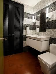 bathroom brown wooden flooring white toilet white hanging vanity
