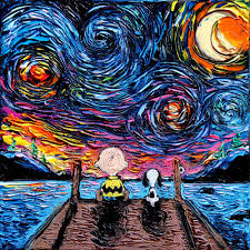 snoopy and charlie brown art starry night print van gogh
