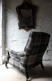Victorian Armchair A Good Ebonised U0026 Tartan Upholstered Victorian Armchair In The