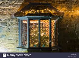 bay window and a tree with lights inside a cottage in