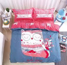 6 in 1 set quality 1200tc pink little owl bedding bedsheet queen