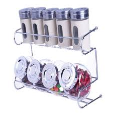 Spice Rack Holder Kitchen Spice Container Set With Rack Holder White Lazada Malaysia
