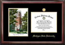 of michigan diploma frame michigan state spartans beaumont tower lithograph diploma frames