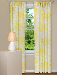 Contemporary Drapery Panels Floral Curtain Panel In Yellow