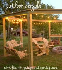 pergola with fire pit and swings diy backyard dream