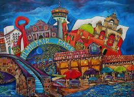 san antonio mission painting downtown montage san antonio by patti schermerhorn