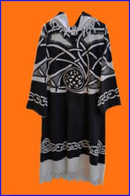 celtic ritual robes tribal maxi tunic black white high fashion celtic knots ritual
