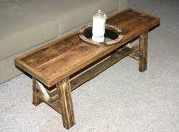 furniture rustic narrow wood coffee table with round glass top