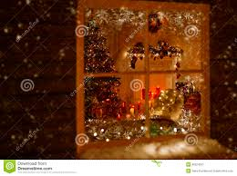 christmas window holiday home lights room decorated xmas tree