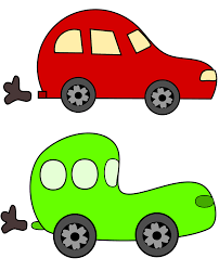 clipart cartoon green and red cars