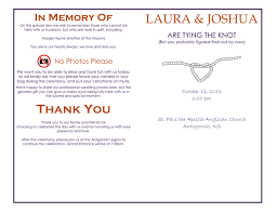 in memory of wedding program free wedding program template in word and pdf formats