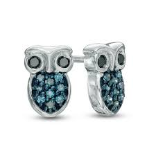 owl stud earrings 1 10 ct t w enhanced blue and black diamond owl stud earrings in