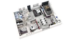 les 3 chambres plan maison 3 chambres 3d