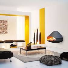 Yellow Fireplace by Wood Burning Fireplace Contemporary Open Hearth Wall Mounted