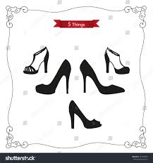 set 5 things womens shoes platform stock vector 185143607
