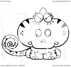 cartoon clipart of an outlined angry cute chameleon lizard black