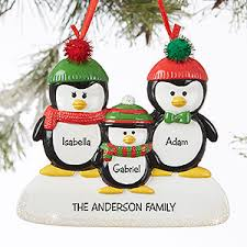 penguin family 3 name personalized ornament gifts