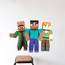 Mario Bros Wall Stickers Minecraft Steve And Alex Bedroom Wall Stickers Minecraft Design