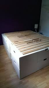 Cabinet Bed Frame Platform Bed With Storage Made From Kitchen Cabinets Diy