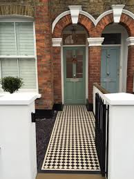 victorian front garden company walls rails black and white mosaic