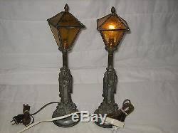 lot of 2 vintage leviton cast iron u0026 green glass lamp shade asian