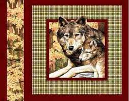 cotton fabric pillow panel wolf and cubs brown